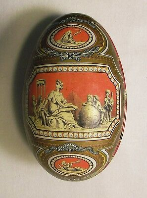 Vintage Tin Egg with Greek / Victorian Designs, 4 1/2 Inches Long