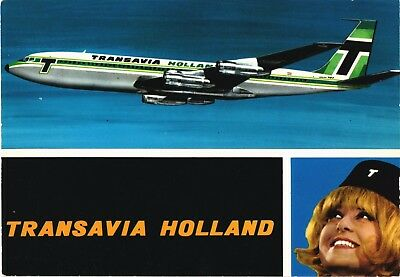 Transavia Holland Boeing 707 and air hostess Airline Issue. Aviation Postcard