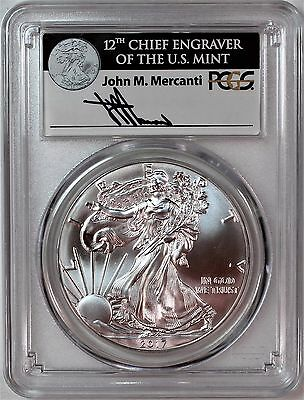 2017 $1 Silver Eagle PCGS MS70 First Day of Issue Mercanti Signature 1 of 1000