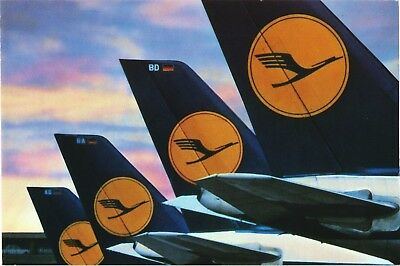 Lufthansa tails of Boeing 747 Airline Issue Aviation Airplane USA Issue Postcard