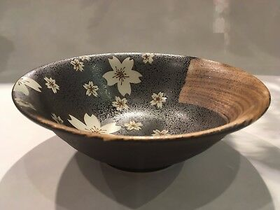 Japanese Cherry Blossom Plate Deep Brown 19x6.5cm Pottery Made in Japan F/S