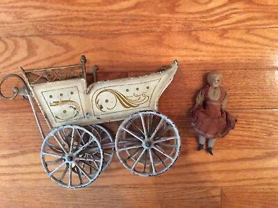 Antique Metal Baby Carriage and Doll