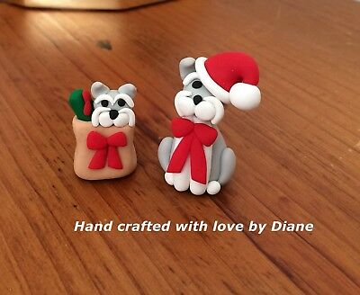 Miniature Hand Crafted Polymer Clay Schnauzer Santa and Friend