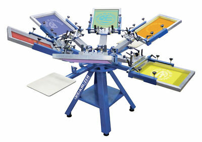 M & R Kruzer 6 Colour 4 Plattern Screen Printing Carousel With Side Clamps