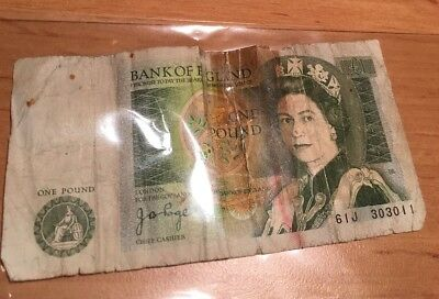 Bank Of England £1 One Pound Note Rare Old