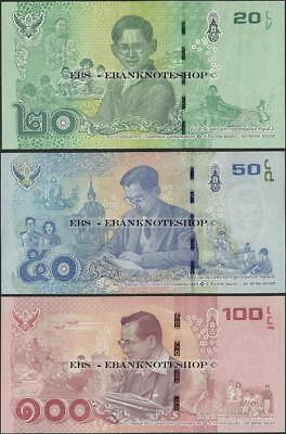 Thailand,PNew,2017,3 NOTE SET 20 to 100 Baht,UNC,Commemorative @ EBS