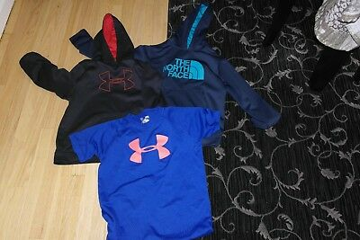 Under Armour, The North Face Boys Clothes Lot, Size YM + YL Hoodies