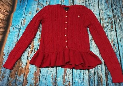 Ralph Lauren girls size 12-14 warm button sweater woven polo red kid youth