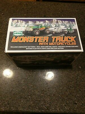 2007 HESS MONSTER TRUCK WITH MOTORCYCLES 2007 New In Box Never Removed