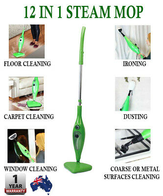 12 in 1 Steam Mop X5 Multi Functional Steamer Use H2O Water Cleaner Kitchen