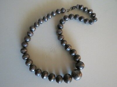 Vintage Old Pawn Sterling Silver Stamped Graduated Bead Necklace