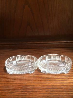 ANTIQUE VINTAGE EDWARDIAN 1920s PAIR PRESSED GLASS OPEN SALTS DISHES