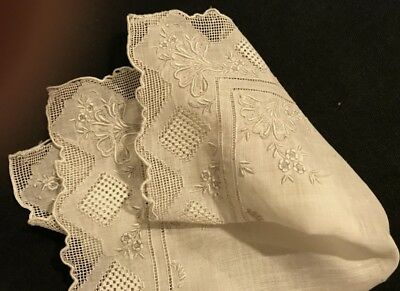 "Antique Needlework Lace White Linen Handkerchief 10 1/2""SQ Repair Remake AS IS"