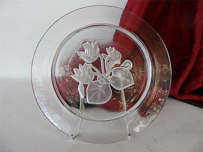 Vintage Claus Josef Riedel Austria Crystal Glass  Floral Plate Heavy