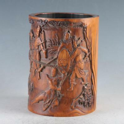 Chinese Bamboo Pole Hand Carved Ancient Soldiers Brush pot DY0471