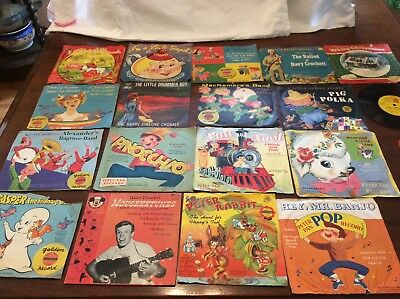 vintage Cricket Disney Golden childrens 45 records 1950s-60s (lot of 17)