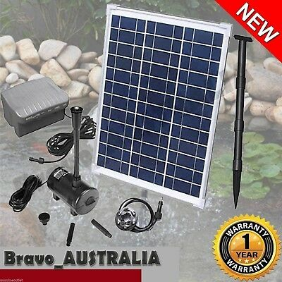 Solar Powered Water Pump 20W for Pond or Fountain With Battery Timer & LED Light