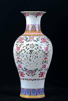 Chinese Famille rose Porcelain Handmade Carved Hollow vase W QianLong Mark