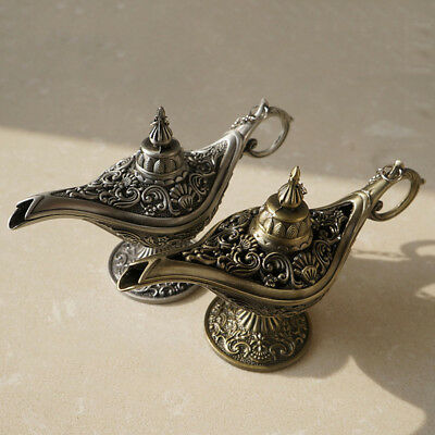 Carved Legend Brass Bronze Aladdin Magic Genie Light Wishing Lamp Pot Collection
