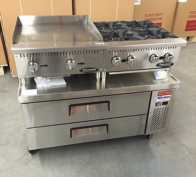 "CHEF BASE 48"" Refrigerated Stand Equipment Table 2 Drawer Package With Griddle"