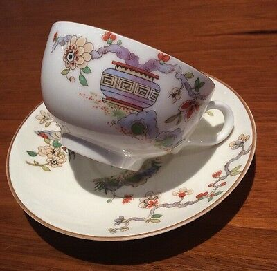 Royal Worcester Cup & Saucer Japanese Flowers White Pattern # 608482
