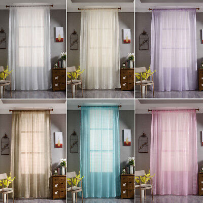 "1 Pack Window Curtains Rod Grommets Sheer Grid Tulle Drapes Voile Panels 79""x39"""