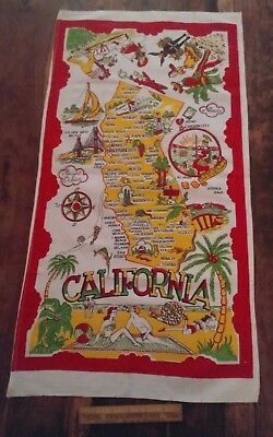 Vtg linen cotton tea towel California retro Map of state bright colors NICE