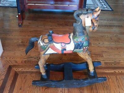 Unique Hand Carved Wood Rocking Horse