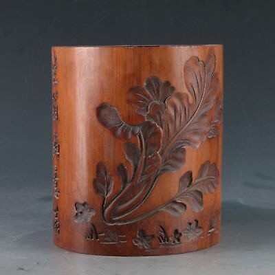Chinese Bamboo Pole Hand Carved Vegetables Brush pot DY0359