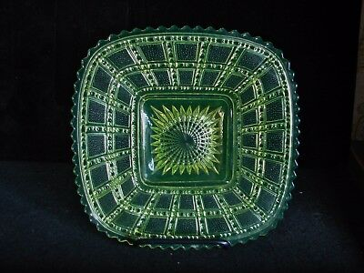 c1913 Imperial EAPG Vaseline Frosted Block Pattern Glass Plate
