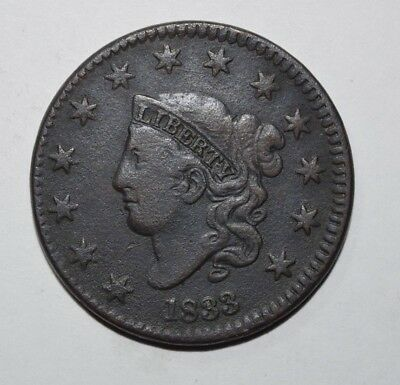 1833 Coronet Head Large Cent   1Y