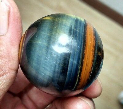 86.9g 39mm Natural Blue and Yellow Tiger's Eye Crystal Sphere Ball Healing P1018