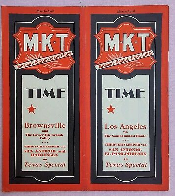 Old - vintage 1931 MKT railroad time table; Texas Special railway line, Katy