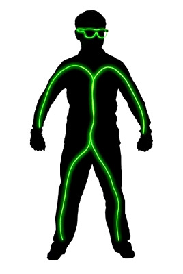 Light Up Stick Figure Halloween Costume Kit Lime Green One Size Attach to Clothe