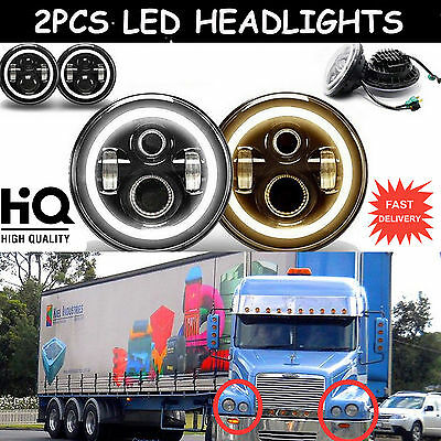 2x7inch LED Round DRL Headlight H4 H13 Hi/Lo Beam For Freightliner Century Class