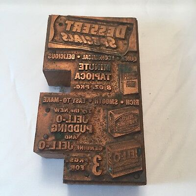 Dessert Specials Antique Letterpress Wood And Copper Print Block Ad Jell-o Early