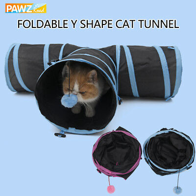 3 WAY Y Shape Pet Cat Tunnel Collapsible Rabbit Exercise Fun Summer Play Toy