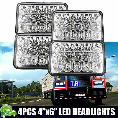 "4PCS 4X6"" LED Headlight Hi/Lo Sealed Beam For Freightliner FLD112 FLD120 Classic"