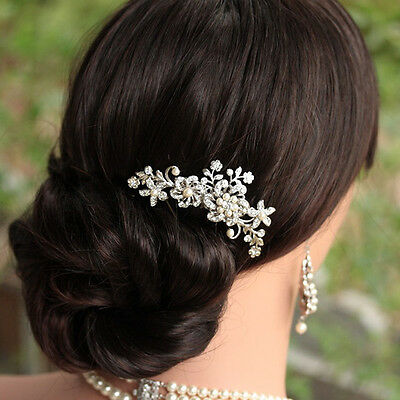 Beautiful Hair Comb Pin Clip Bridal Prom Silver Wedding Flower Pearls Crystal