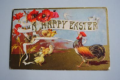 Antique Embossed A Happy Easter Postcard Chicks Rooster