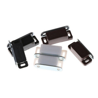 5Pcs Magnetic Door Catches Brown Cupboard Wardrobe Cabinet Latch Catch Locks EV