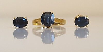 18CT SOLID GOLD FINE SAPPHIRE RING AND CONFORMING EARRINGS size L 1/4