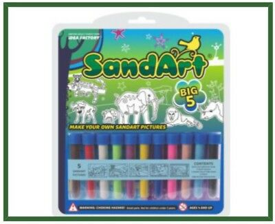 Sand Art Big 5 Pack 11 Colour Sand & 5 Cards. Great Sand Art Picture for Kids