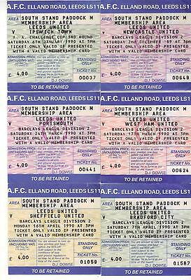 1989/90 Collection of Leeds Home Tickets x 7- West Ham, Portsmouth, Bradford etc