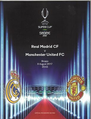 2017/18  Manchester United  v  Real Madrid  + Teamsheets x 2 Super Cup In Skopje