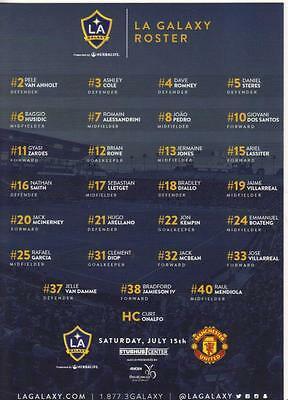 2017/18  LA Galaxy  / Real Salt Lake v  Manchester United   Teamsheet  Tour 2017