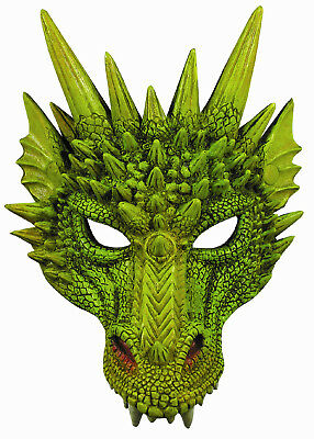 New Green Dragon Adult Dinosaur Latex Half Mask 79489