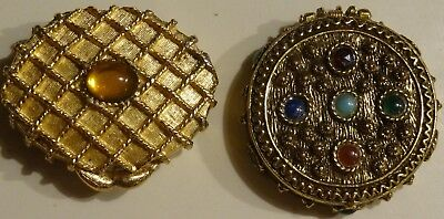 Lot 2 Vintage Gold Tone Jeweled Solid Perfume COMPACTS Houbigant
