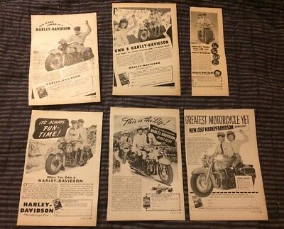 Vintage Harley Davidson Ads From 1947 & 1949 Popular Science Magazine