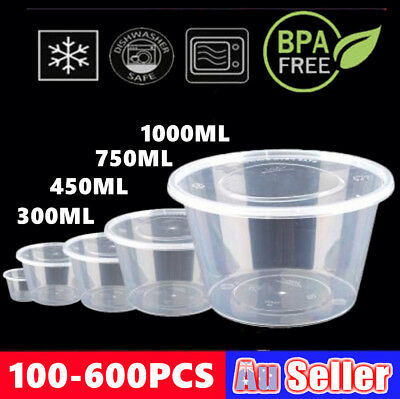 100-600 Lids Plastic Food Storage Lunch Take Away Container Round Microwave Box